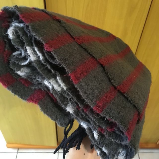 韓 質感羊毛條紋圍巾