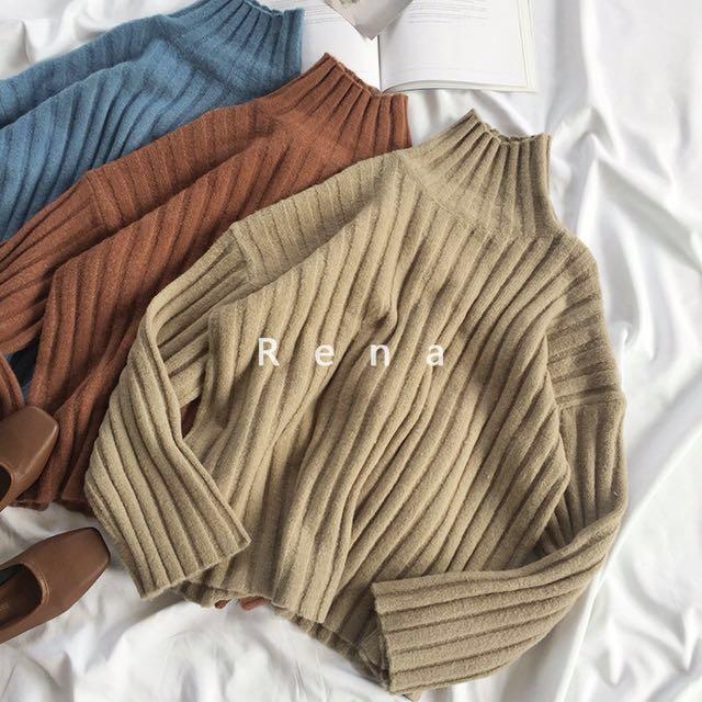 舒適壓紋高領厚毛衣 #有超取最好買