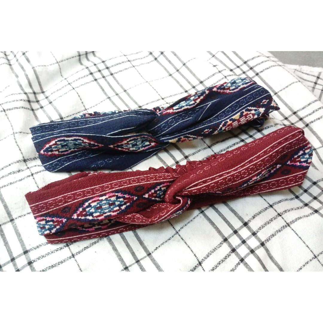深藍色與酒紅色 百搭民族風髮帶