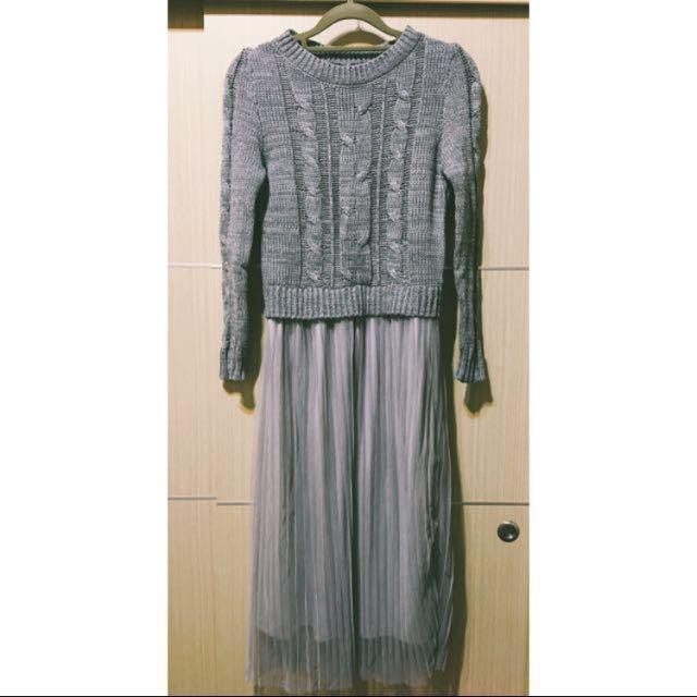 灰色連身針織拼接網紗洋裝 網紗裙