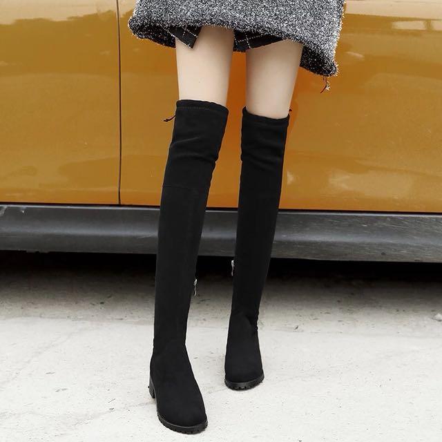 過膝平底長靴·秋冬系列·超級顯瘦 短毛絨 底後跟