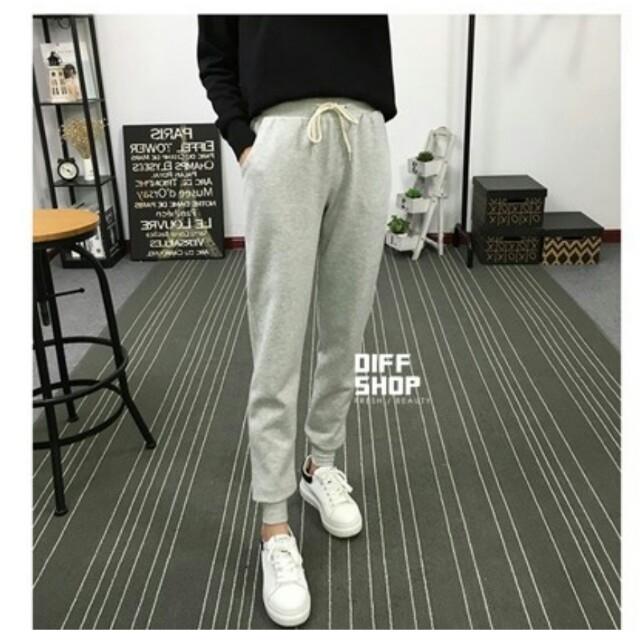灰色 素色鬆緊綁帶運動褲 長褲