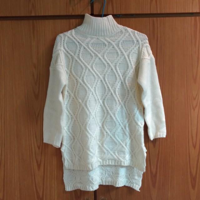 韓版 高領 白毛衣