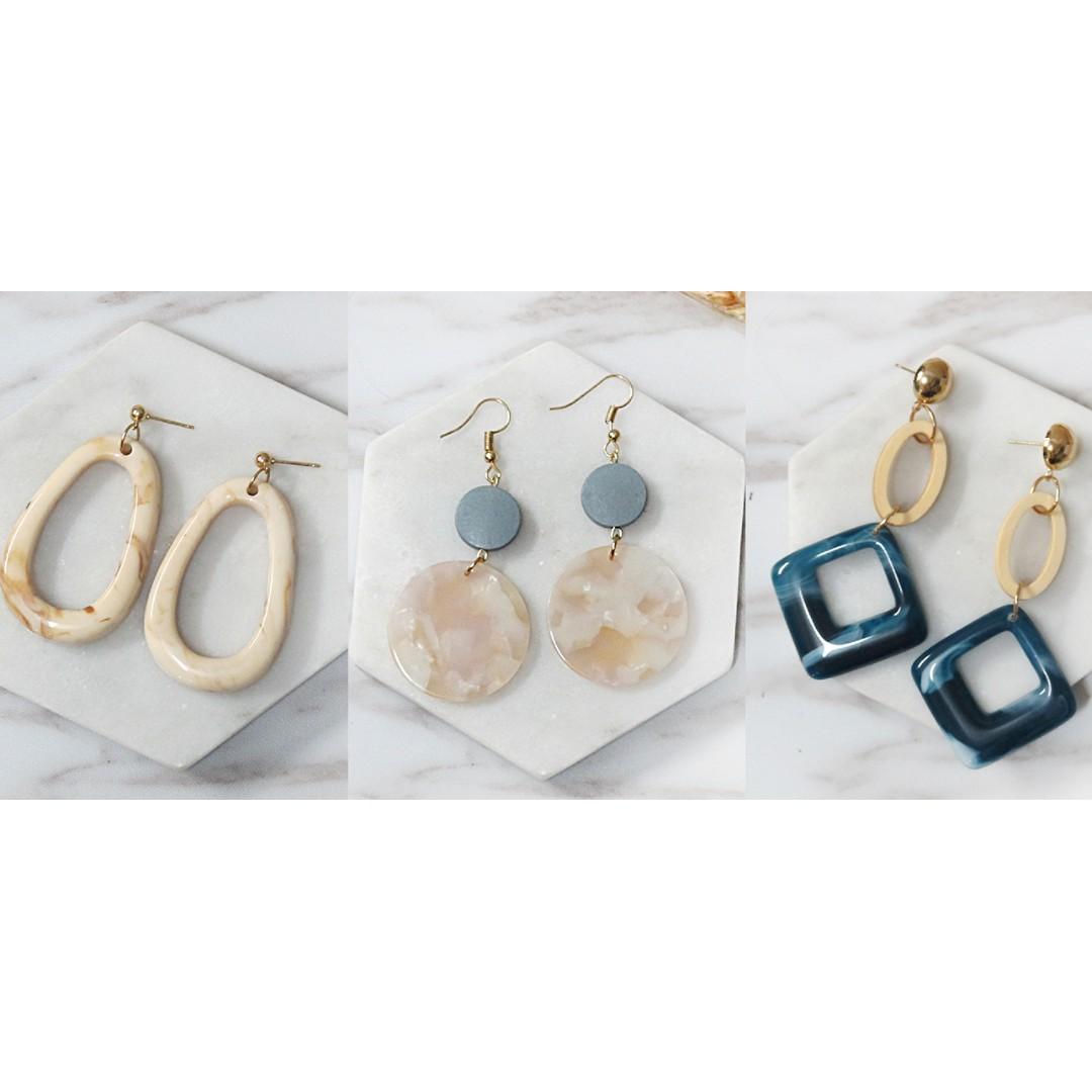 私藏耳環限定販售 - 壓克力與大理石紋路系列