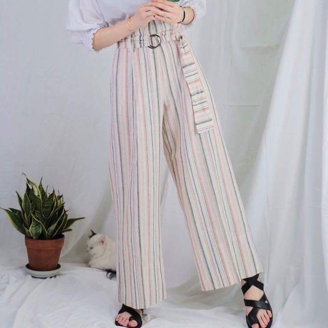 可議 正韓韓製韓標 花泥小姐 粉系感直紋棉麻繫帶綁帶寬褲