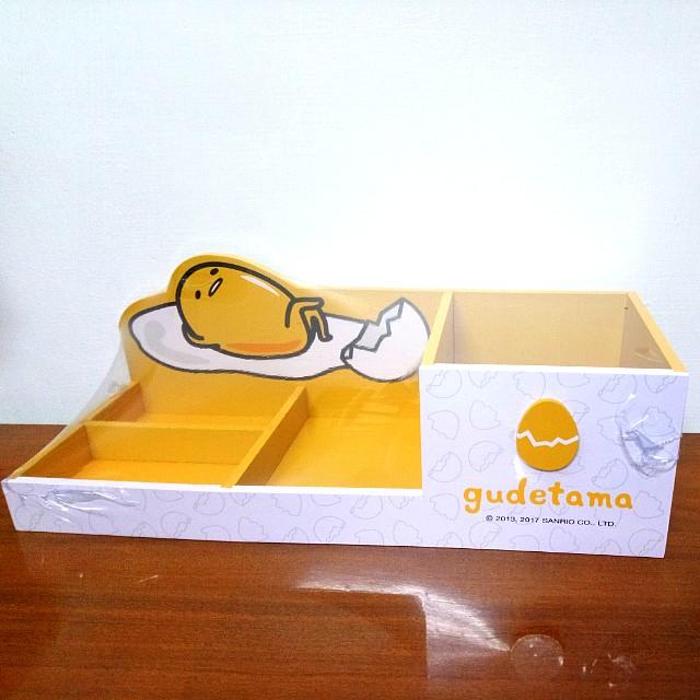 蛋黃哥造型收納盒 木製 全新未拆封 化妝品文具桌上收納