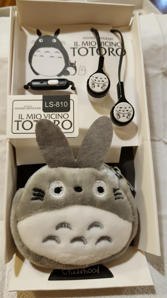 龍貓 平頭 耳機 附耳機收納袋(黑色)  絨毛收納包