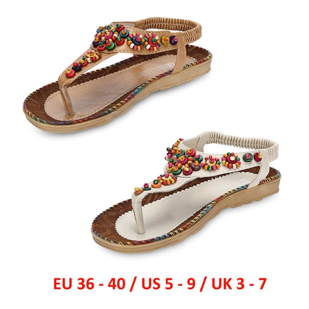 232067cc6 💯 Trendy Toe Post Beaded Flat Sandals Beach Women Shoes