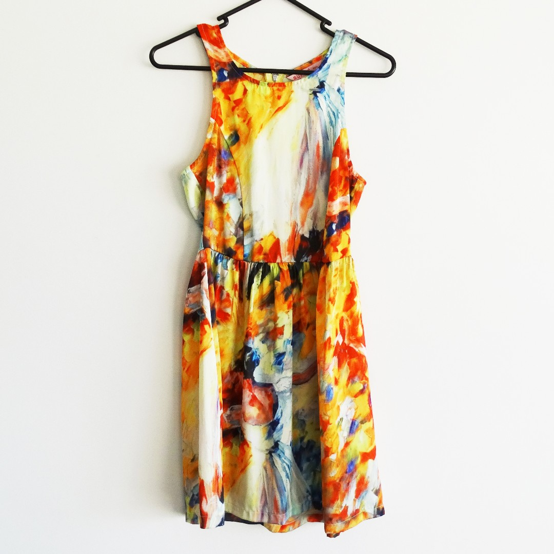Abstract Print Dress Size XXS (Size 4 - 6) Ballerina in Orange and Yellow