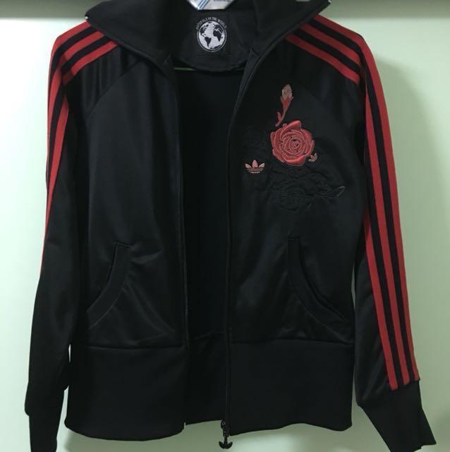 Adidas玫瑰電繡外套 古著