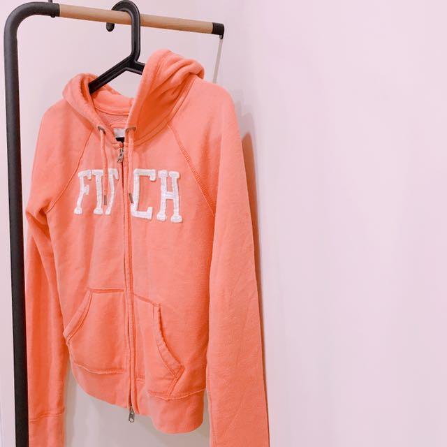 A&F連帽外套 粉橘色 休閒 舒適 美國 名牌 經典 帽T 棉質 保暖
