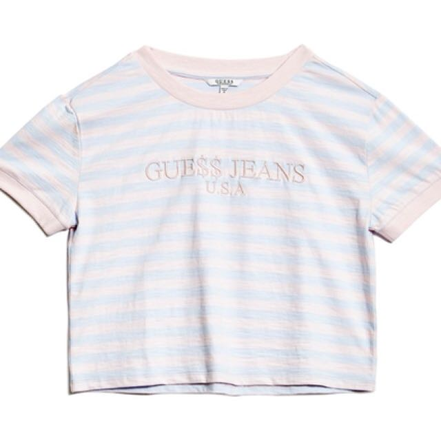 d71452f003f ASAP rocky x Guess cotton candy ringer crop tee, Women's Fashion, Clothes,  Tops on Carousell