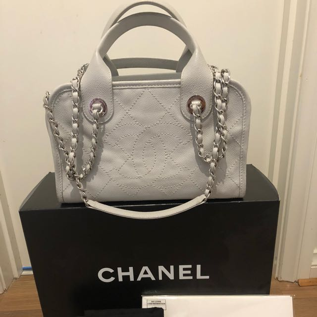 Authentic Chanel Deauville Bowling Bag Caviar