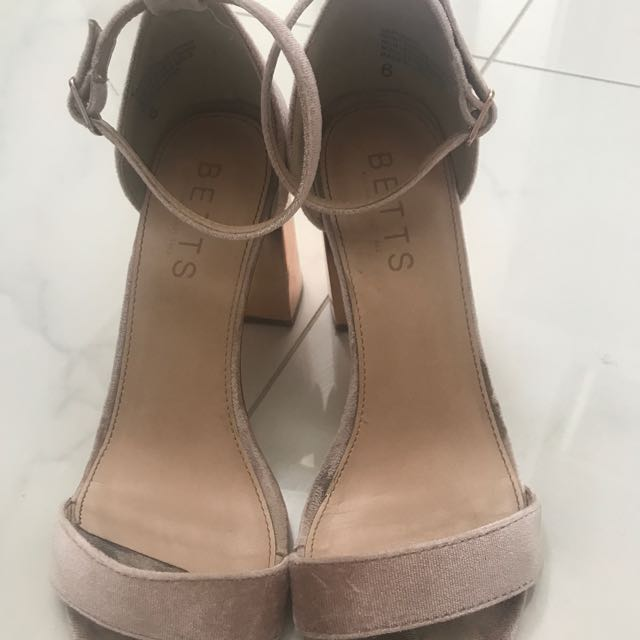 BETTS Suede And Rose Gold Block Heel