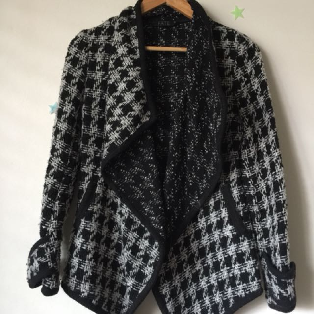 Black and white waterfall style jacket