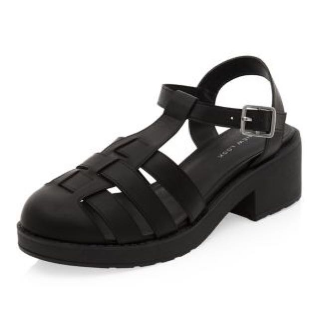 859dea90153 Black Chunky Caged T-Bar Sandals