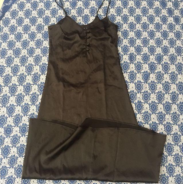 Black Midi Silk Dress