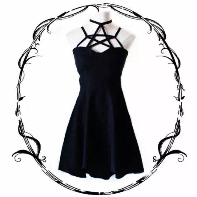 Black Star Criss Cross Gothic Dress