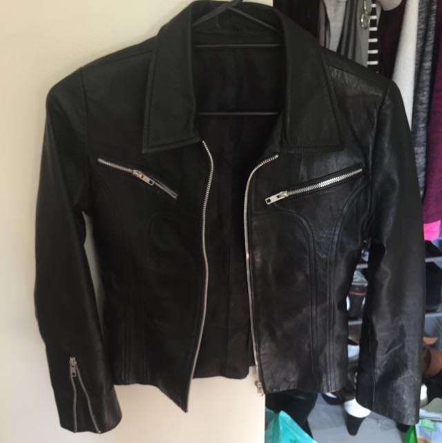 Black Synthetic Leather Jacket Small