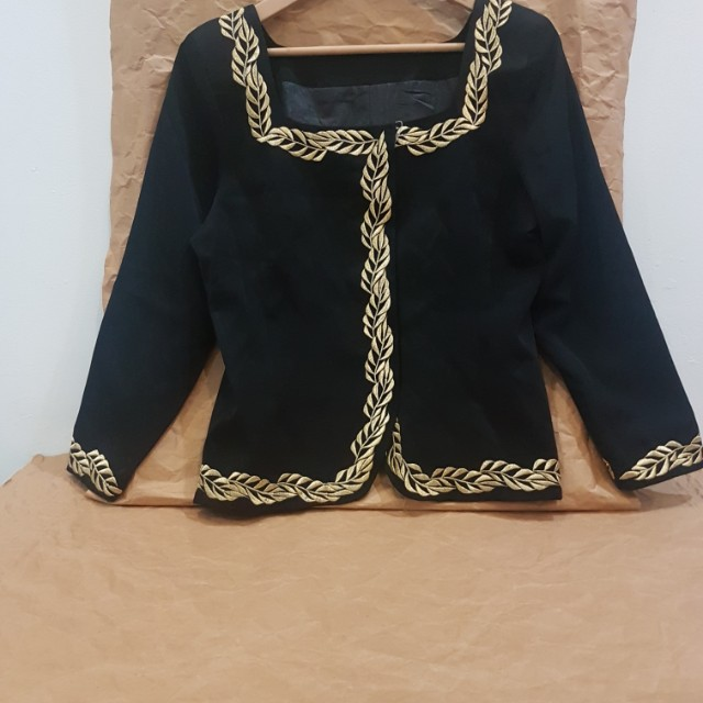 Blouse Gold Leaves Pattern