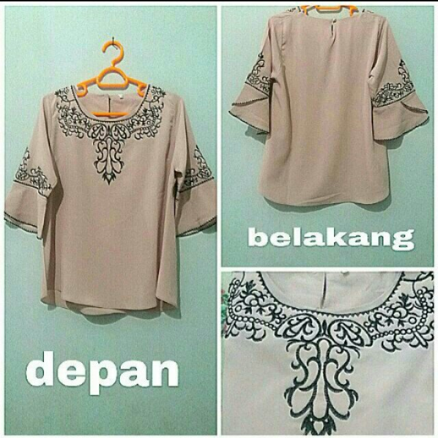 Blouse peach bordir