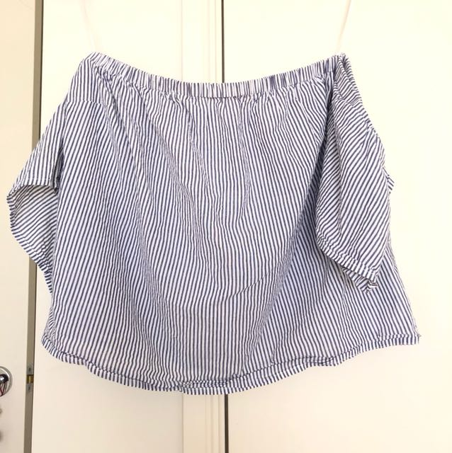 Blue and white striped off the shoulder