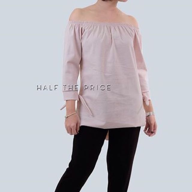 Blush Off Shoulder Tie Top by HTP