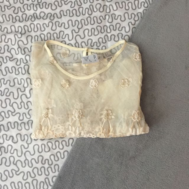 BNWT F21 Cream Embroidered Sheer Top