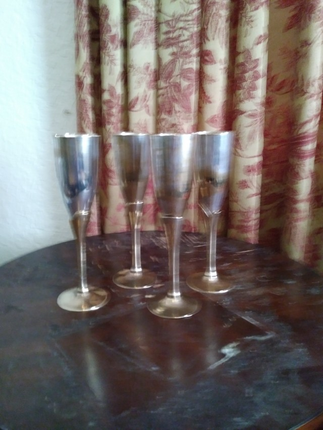 Brass &  Silver Champagne Flutes