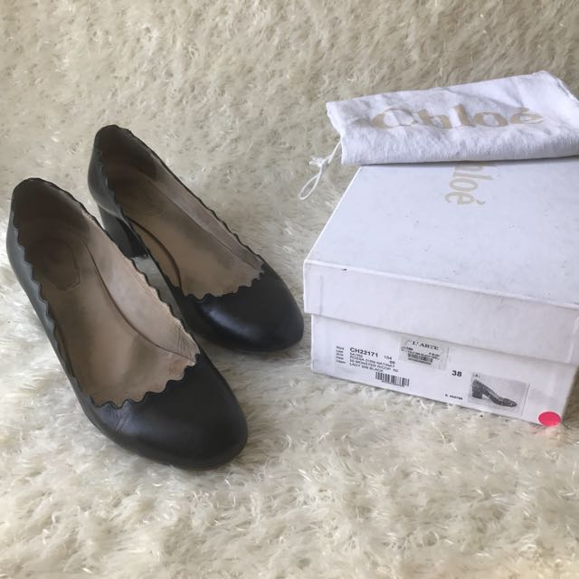 Chloé Lauren Black Scalloped Calfskin Block Heels Ballerina Doll Pumps 38