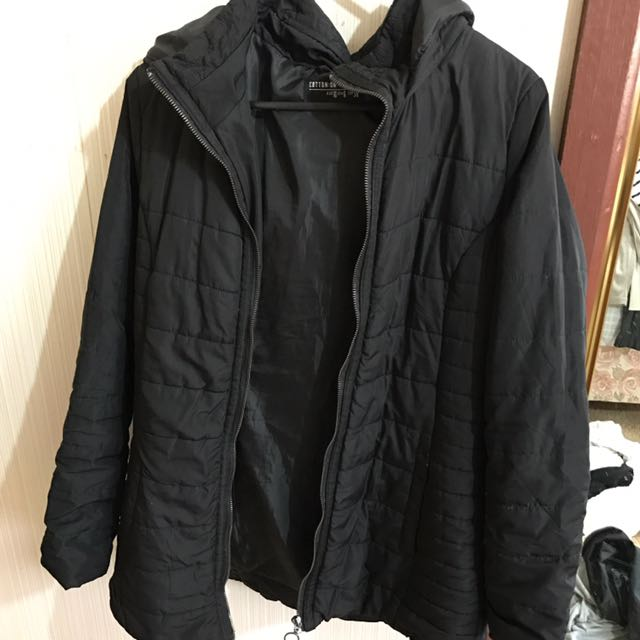 Cotton on black puffer jacket with hood