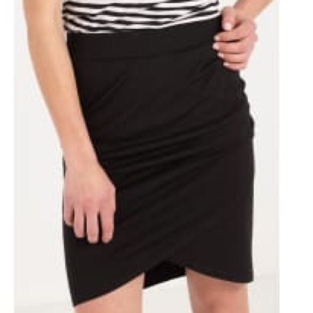 Cotton On Black Wrap Skirt