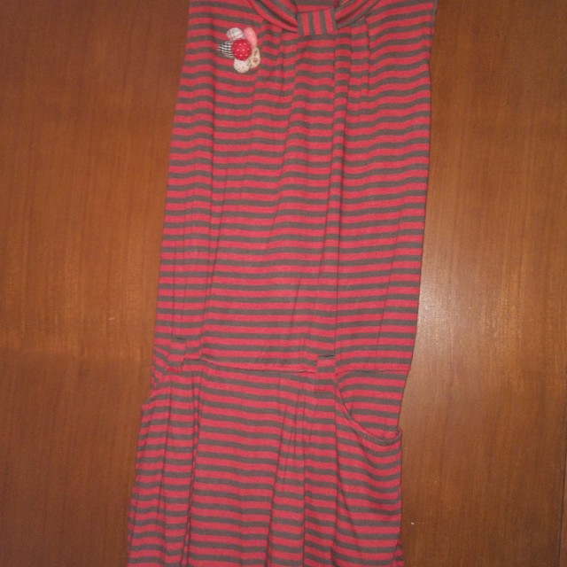 Dress merah garis2
