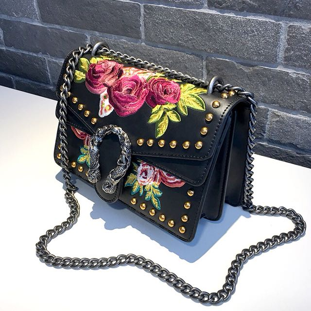 FLOLERH - crossbody leather embodied flower and stud bag