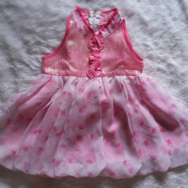 Gaun strawberry pink baby