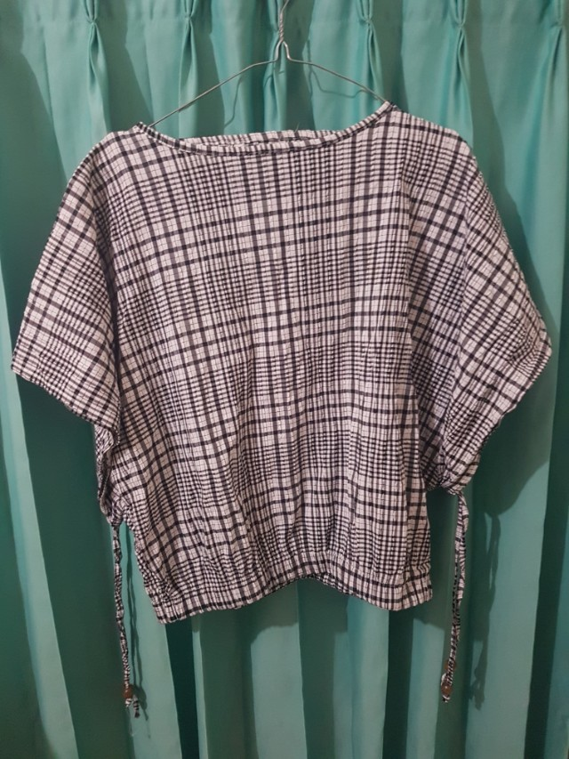 Gingham blouse top