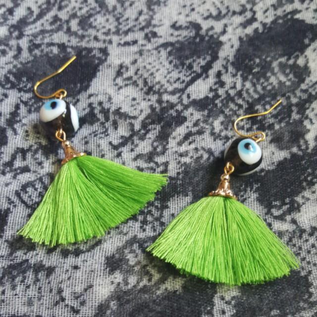 Green Hoola Tassel Earrings