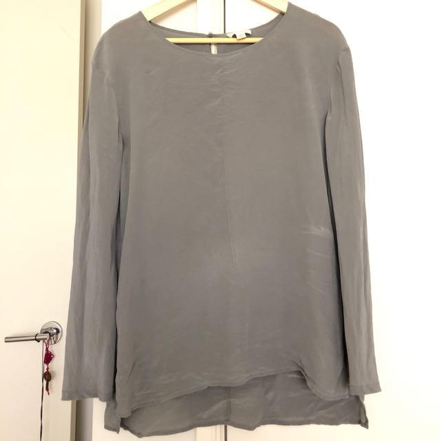 Grey silk long sleeve
