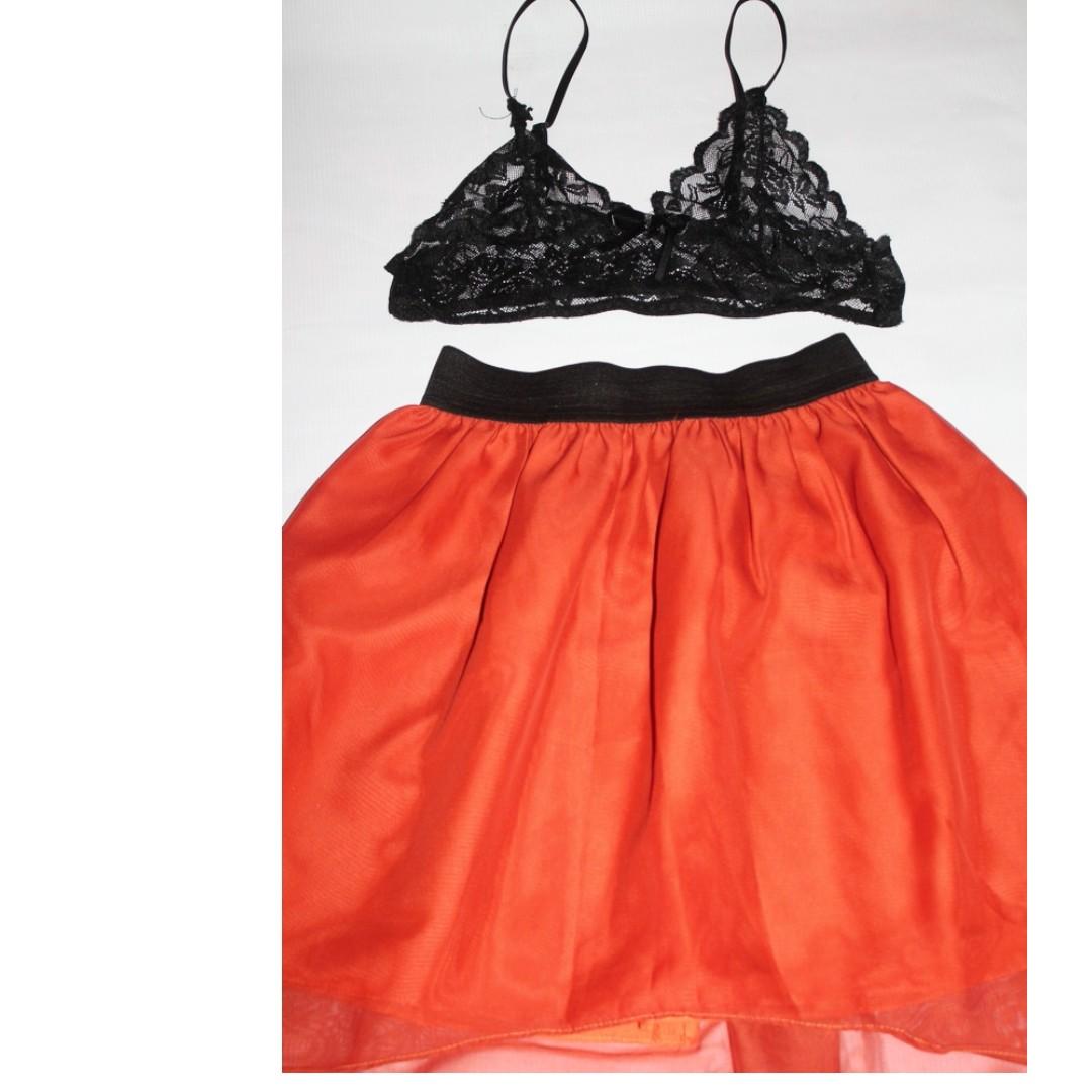 High Low Skirt (Red Orange)