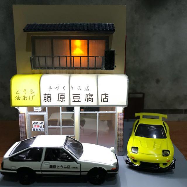 JAPAN INITIAL D TOFU SHOP WITH LIGHTS DIORAMA DISPLAY
