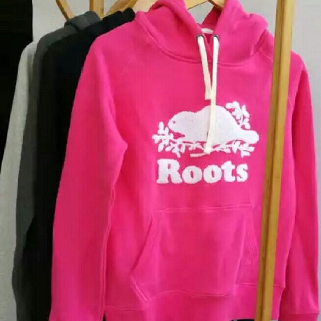 【LA 潮流】特價,真品 ! 加拿大海狸 ROOTS 新款 女款 毛圈 舒適運動休閒 楓葉連帽外套- 玫紅 !