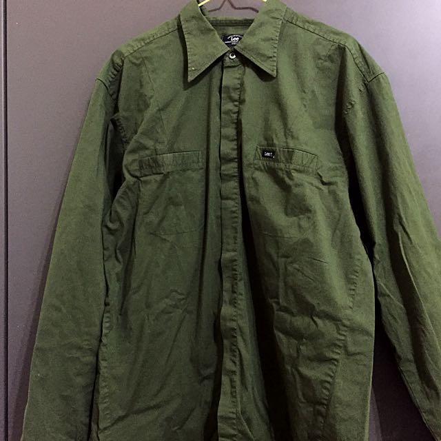 Lee 古著軍綠襯衫 vintage 長袖