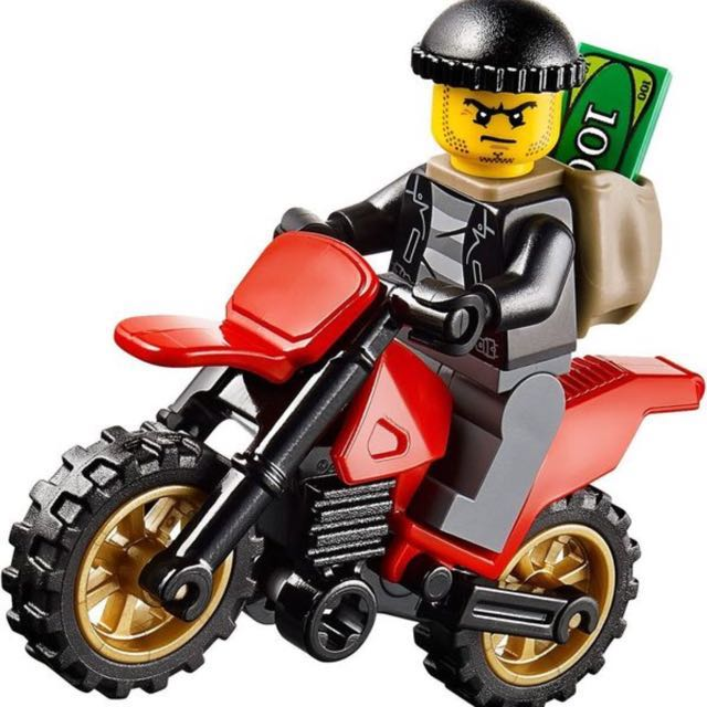 Lego 60042 - City Bandit Male with Black Motorcycle Dirt Bike, Toys ...