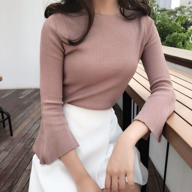 Long Sleeve nude pink top