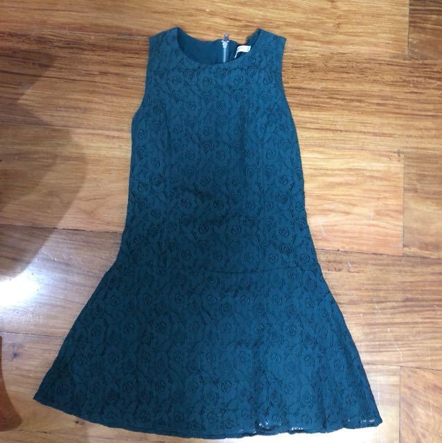 Mango green lace dress