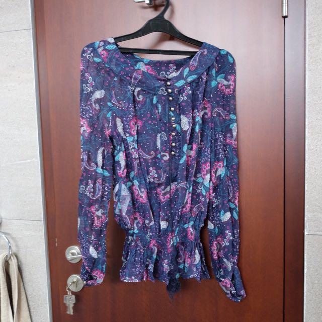 Mango purple print blouse