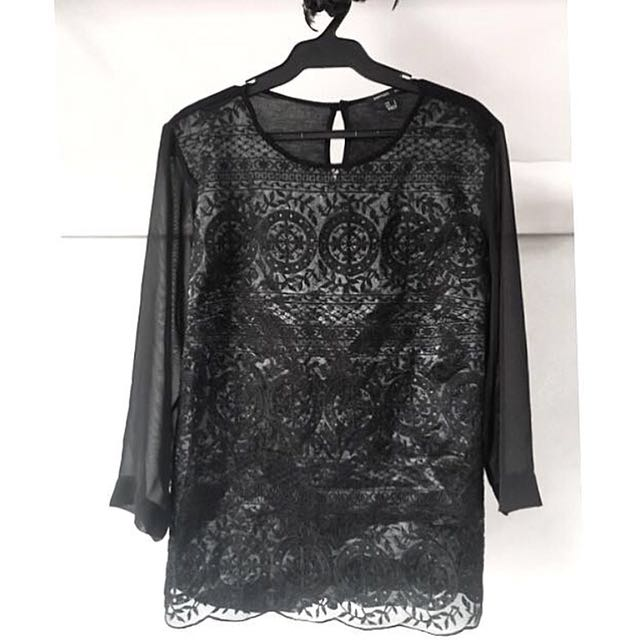 Mango Suit Embroidered Top