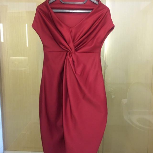 Maroon Off Shoulder Scuba Dress