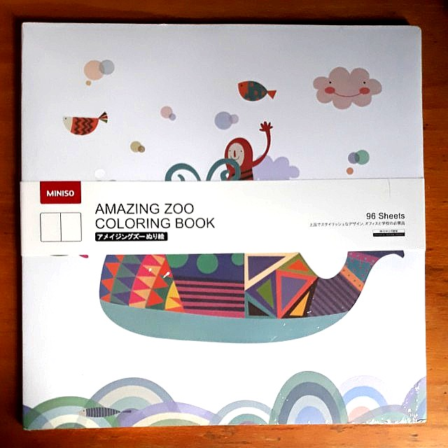 Miniso Amazing Zoo Colouring Book Books Stationery