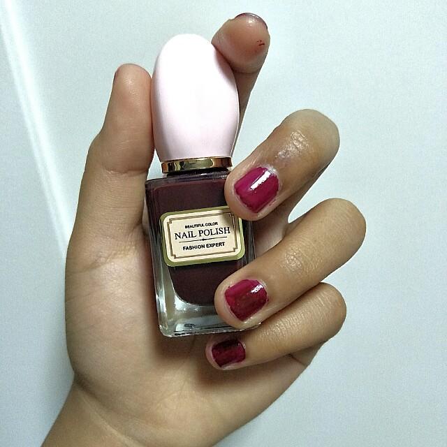 miniso maroon nail polish, Health & Beauty, Hand & Foot Care on ...